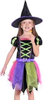Kids Witch Costume Sorceress Dress with Hat for Girls Size 3T-8T