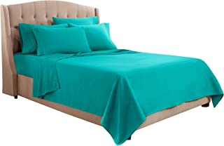 Clara Clark Premier 1800 Collection Bed Sheet Set with Extra Pillowcases Wrinkle, Fade & Stain Resistant, Full, Teal