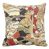 Emvency Funda de Almohada de Estampado japonés Geisha con Estampado de Tela Decorativa, para decoración del hogar, Cuadrada, Funda de Almohada