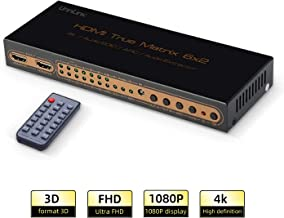 Unnlink HDMI Matrix 6 x 2 UHD 4K Switch/Splitter 6 in 2 Out HDMI Audio Extractor HiFi 5.1 SPDIF Toslink+3.5mm Jack ARC,PIP IR Remote Control Compatible with Computer ps4 Xbox one roku Chromecast