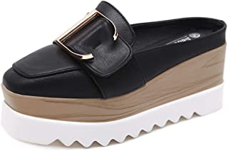 Women's Sandals Fashion Lady Lazy Shoes Slingback Shoes, Patent Leather Flat with Half Slippers Platform Shoes White Black,Black,35