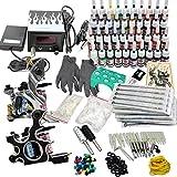 Kit de tatuaje Professionl para principiantes Fundas y sombreador Tattoo Machines Fuente de alimentación, 40 tintas de color Kit de tatuaje para artista