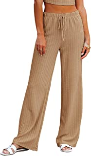 NIMIN Women's Casual Comfy Drawstring Elastic Waist Pants Loose Elegant Ribbed Knit Solid Chic Pants