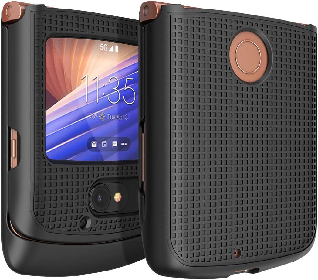Case for Motorola RAZR 5G Flip Phone, Nakedcellphone [Black] Protective Snap-On Hard Shell Cover [Grid Texture] for Motorola Moto RAZR 5G Flip Phone (2020) XT2071