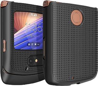 Case for Motorola RAZR 5G Flip Phone, Nakedcellphone [Black] Protective Snap-On Hard Shell Cover [Grid Texture] for Motoro...