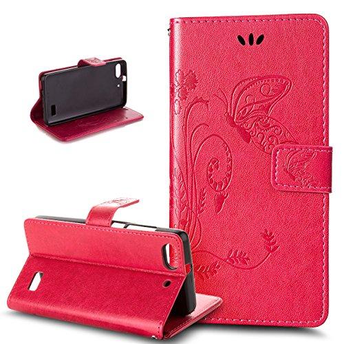 Kompatibel mit Huawei G Play mini Hülle,Huawei Honor 4C Hülle,Prägung Groß Schmetterling Blumen PU Lederhülle Flip Hülle Ständer Wallet Tasche Schutzhülle für für Huawei G Play mini/Honor 4C,Rose Red