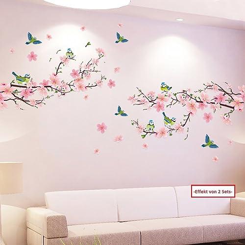 WandSticker4U®- XL Stickers muraux FLEURS DE Pêche & OISEAUX (250x150 cm) I autocollant sticker mural roses cerisier ...