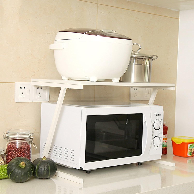 Kitchen Microwave Shelves - Modern Minimalist White Microwave Shelves, Kitchen Storage Rack -by TIANTA