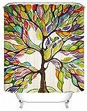 X-Labor Bunt Baum Duschvorhang 240x200cm Anti-Schimmel Wasserdicht Polyester Textil Stoff Badewannevorhang Shower Curtain 180x180cm