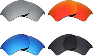4 Pair Polarized Replacement Lenses for Oakley Half Jacket 2.0 XL Sunglass - Stealth Black/Fire Red/Ice Blue/Silver Titanium