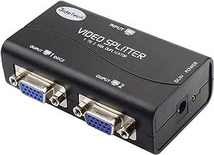 VGA Splitter 2 Port USB Powered Support 1920X1400 Resolution 250MHz Bandwidth for Screen Duplication