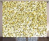 ABAKUHAUS Abstrakt Rustikaler Vorhang, Party Konfetti Plätze, Wohnzimmer Universalband Gardinen mit Schlaufen und Haken, 280 x 225 cm, Karamell Gelb und Weiß