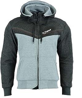JET Motorcycle Motorbike Jacket Kevlar Hoodie Aramid Reinforced Lining Cotton (6XL, Grey)