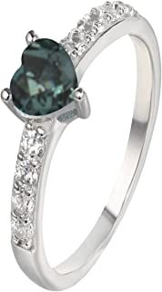Natural Color Change Alexandrite Diamond Ring in 14K White Gold