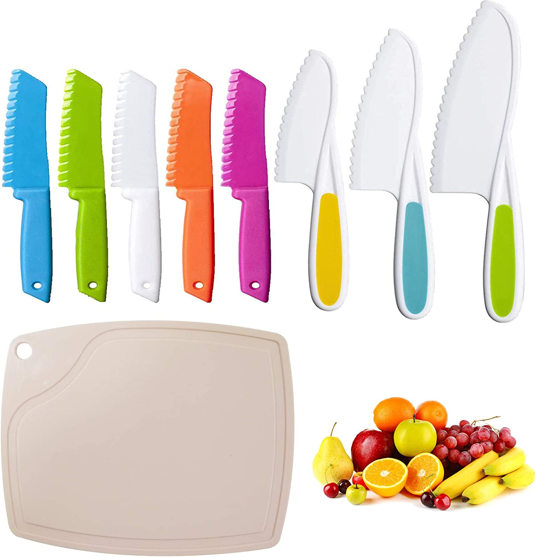 9Pcs Kids Knife Sets Plastic Knife,Kids Chef Nylon Knives Include 5 pcs Square knife, 3pcs Pointed knife,1pc Non-slip Plastic Cutting Board, Children's Safe Children's Safe Cooking For Fruit,Knife