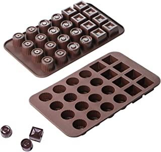 webake Chocolate Molds Silicone Candy Molds for Jello, Gummy, Keto Fat Bombs, Gelatin, Ice Cube, Wax Crayon, Pack of 2