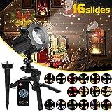 Proiettore Luci natalizie, Sotical LED Esterno Proiettore Telecomando Lampada con 16 Lenti Intercambiabili e 4 Modalità velocità, Adatto Halloween Natale Compleanno Party Festa Decorazioni