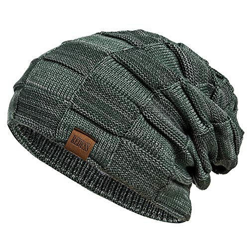 REDESS Beanie Hat for Men and Women Winter Warm Hats Knit Slouchy Thick Skull Cap Green