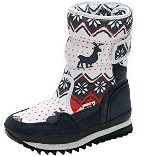 Tronet Girls Boys Winter Snow Boots Warm Waterproof Anti-Slip Anti-Collision Hight-Cut for Outdoor Skiing