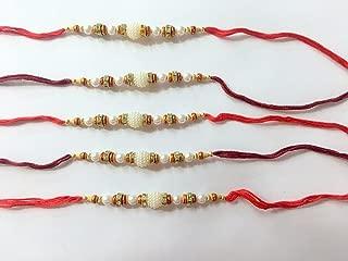 Rakhi Thread, Best for Your borhter/sibbling Multi Color, with Classic Work of perl, Best for raksha bandhan (Set of 5)