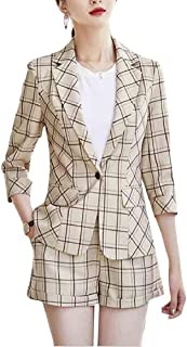gawaga レディースファッションプレードオフィス仕事ブレザーとショーツ2ピースセット
