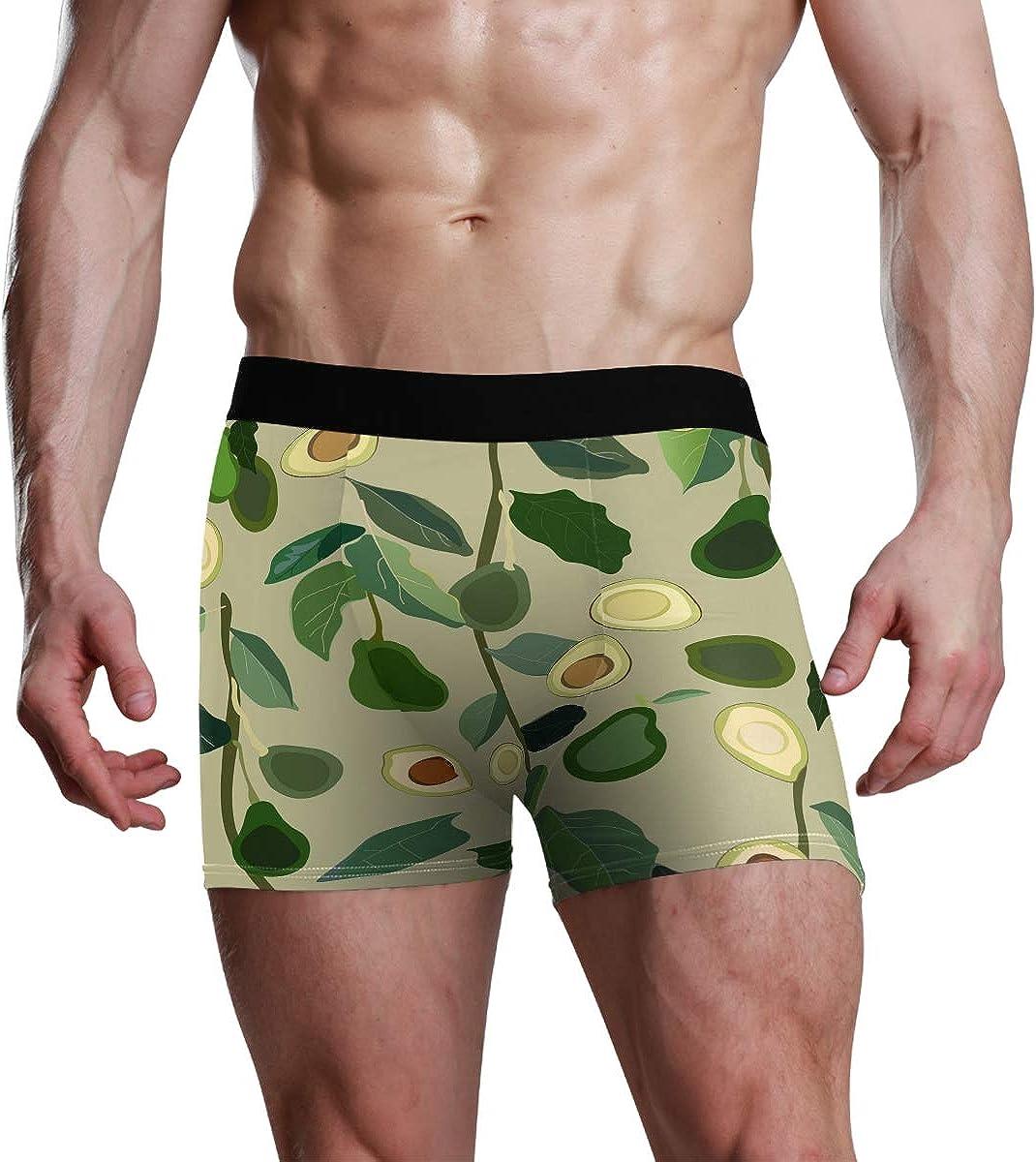 Mens Boxer Briefs Cartoon Cute Hot Avocado Fabulous Green Low Rise Trunks Underwear Breathable Bikini Boys