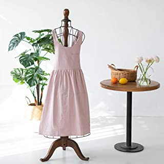 Apron,Brief Nordic Wind Pleated Skirt Cotton Linen Apron Coffee Shops and Flower Shops Work Cleaning Aprons for Woman Wash...