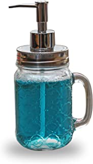 Circleware Garden Gate Mason Jar Dispenser Pump Glass Bottle with Lid Home Decor and Bathroom Accessories for Essential Oils, Lotions, Liquid Soaps, 17.5 oz, Clear