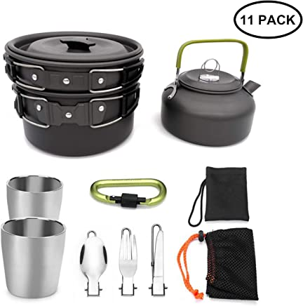 Lightweight Backpacking Cooking Equipment with Storage Bag and Clean Sponge for Outdoor Hiking RioRand Camping Cookware Portable Pot /& pan 2pcs Compact