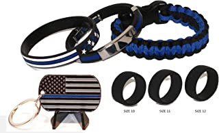 Beall's Bay Thin Blue Line Tactical Paracord w/New Wristband with Chrome/(3) Sizes Tactical Active Wear Rings and Key Chain