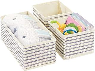 mDesign Boite Rangement Enfant séparée en 2 Compartiment (Set de 3) – Grand casier de Rangement en 2 Tailles pour Couches,...