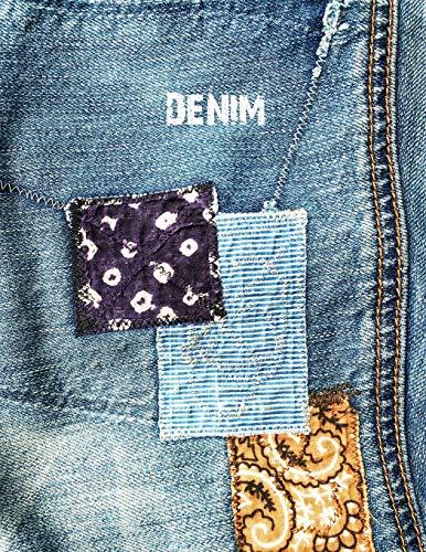 DENIM: 8.5x11 college ruled notebook : vintage patched denim jeans : indigo bandana engineer stripe patchwork [Idioma Inglés]