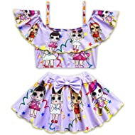 Rohero Toddler Baby Girls Swimsuits Two Piece Doll Print Ruffle Swimwear Bathing Suit for Doll...