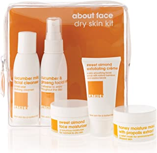 LATHER About Face Dry Skin Care Kit – travel friendly skin care kit contains everything needed to gently cleanse, hydrate, nourish and create glowing skin