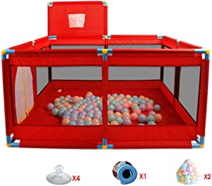 Square Babies Playpen with Crawling Mat Ocean Ball Indoor Anti-Fall Baby Playpen Game Pen Activity Center Durable Strong Guardrail Cloth Red  -128 66cm