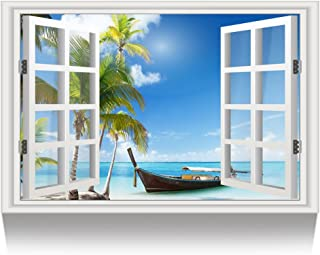 Kreative Arts - Canvas Print Wall Art Window Frame Style Palm Tree Seascape Picture Wall Decor Stretched Giclee Print Gallery Wrap Modern for Home Decoration Ready to Hang (24''x36'', 2.Boat on Beach)