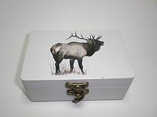 "Caja artesana decorada""Wapiti"", Uapití (Cervus canadensis), Elk"