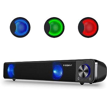 スピーカー PC サウンドバー USB 有線 LEDライト ELEGIANT 高音質 大音量 小型 ステレオ ミニサウンドバー USB給電 スマホ/パソコン/タブレット/テレビに対応