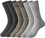 HBselect 6 Paar Norweger Socken aus Schafwolle Hasenhaar warme weiche dickeWollesocken Strümpfe Thermosocken angenehmer Komfort ohne drückende Naht Wintersocken (Grau, Schwarz, Braun, 37-41)