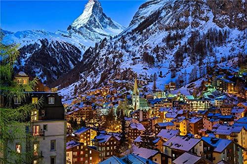 Safiman Puzzle 500 Piezas, Casa De La Montaña De Nieve, Decoración para El Juego De Juguetes para El Hogar, Explora La Creatividad Y La Resolución De Problemas, 52X38Cm