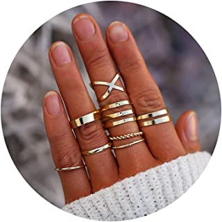 15e99d978 FINETOO 8-14 PCS Midi Rings Knuckle Stacking Multi Size Comfort Fit  Silver/Gold