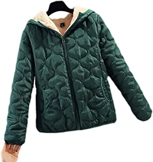 UUYUK Women Warm Hoodie Outdoor Quilted Sherpa Lined Winter Down Jacket