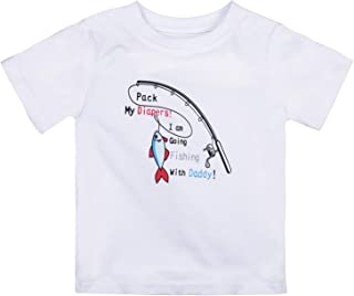 Toddler Baby Boys Girls Fishing with Daddy Graphic Short Sleeve Tee T-Shirts and Baby Onesie Bodysuit