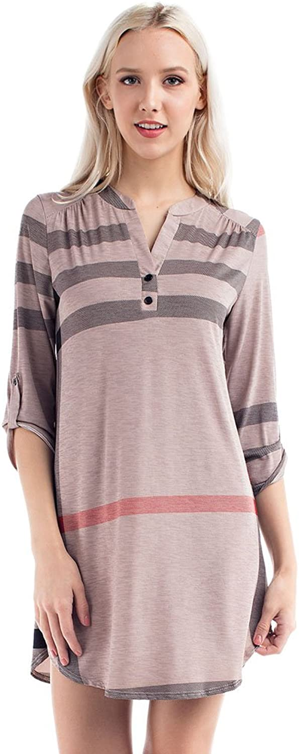 Allora Betsy Red Couture Women 3 4 Sleeve Loose Fit Tunic Top Dress (S3X)