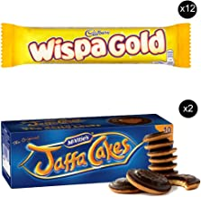 McVities Jaffa Cakes Two Boxes + Cadbury Wispa Gold | Total 12 bars of British Chocolate Candy - Cadbury Wispa Gold 48g each