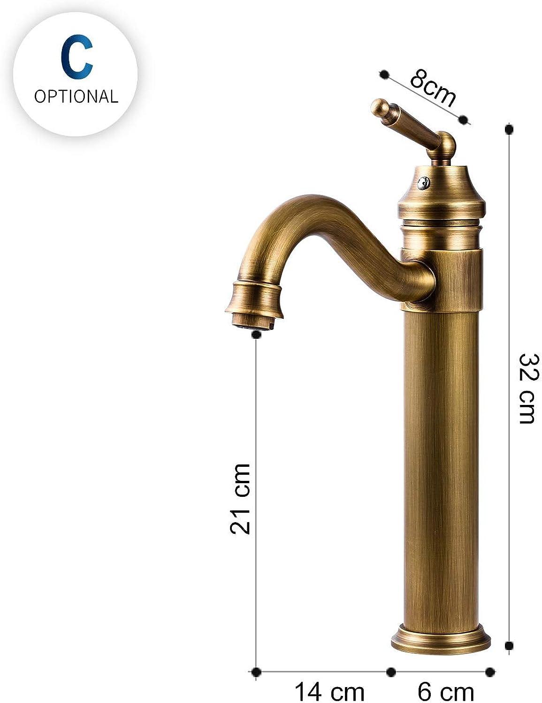 Bathroom Faucet, Antique Bronze Facing Brass Faucet, Single Handle Faucet C