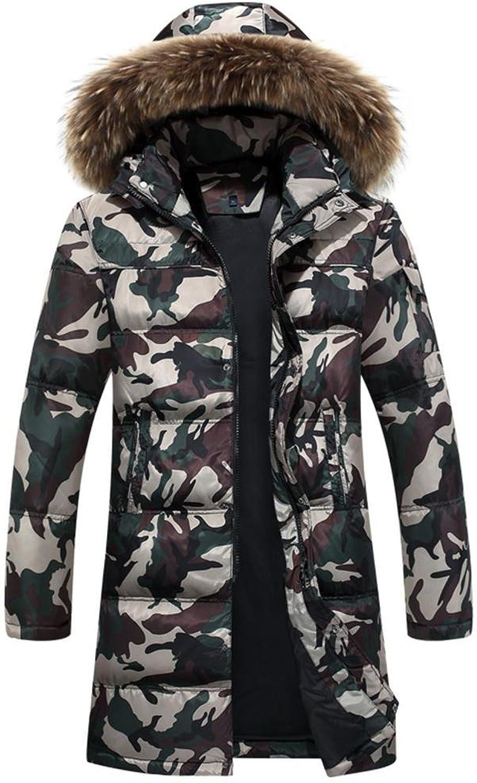 So la ZZHH down jacket Men's long thick Hooded down coat, a, xl