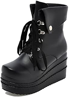 Women's Soft Material Lace-up Round Closed Toe High-Heels Low-top Boots
