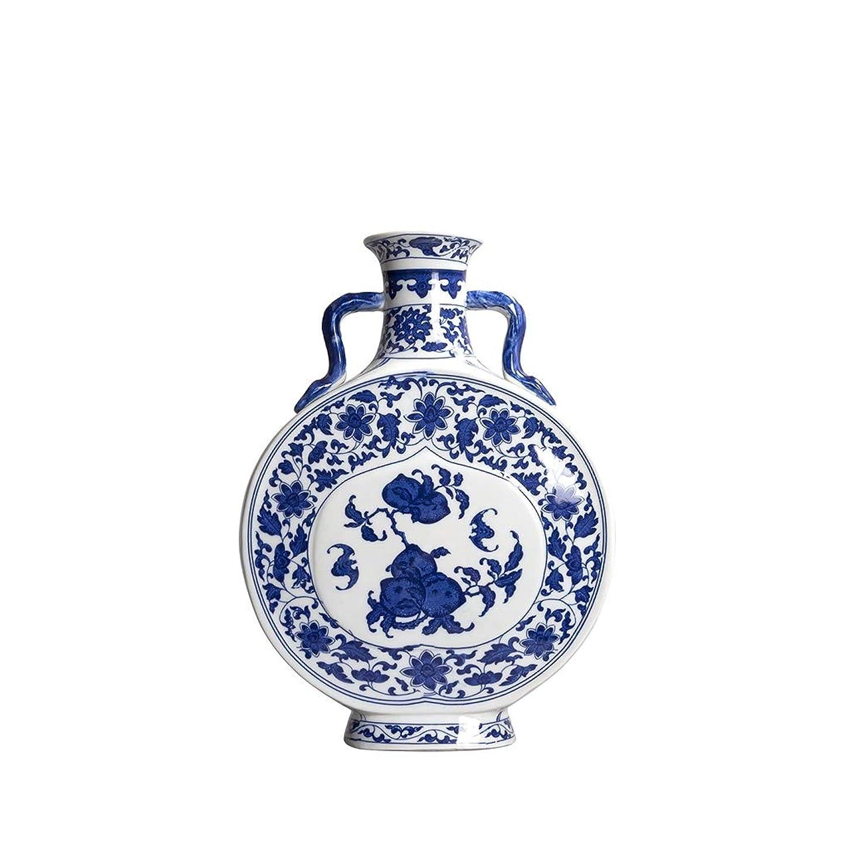 マーキーエンドウフリンジ中国アンティークダブル耳青と白のフラット花瓶、リビングルームの装飾ポーチ防具モデルハウス (Size : 30cm)