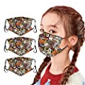 Bandanas ?USA in Stock Fast Delivery ? Kids Halloween Face_Masks, Reusable with Ear Straps Cotton Cute Cartoon Face with Printing Fits Toddlers to Teens